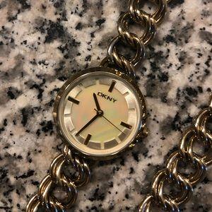 DKNY Chain Wrap Around Gold Wrist Watch